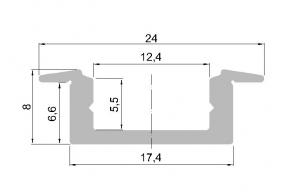 Hliníkový profil pro LED vestavný