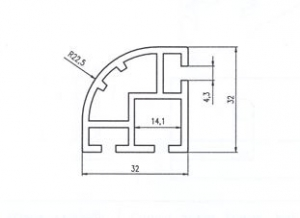 ČTVRTSTOJKA 32x32 ELOX Alufinal  l=6080mm