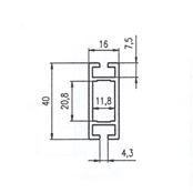 PAŽDÍK  40x16 Alufinal  l=5950mm elox s otlaky